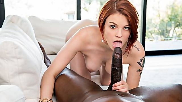 Awesome redhead whitey Bree Daniels fucks with a big black dick