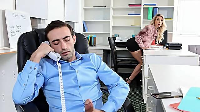 Beautiful stepmom Carmen Caliente rides a huge dick in the office