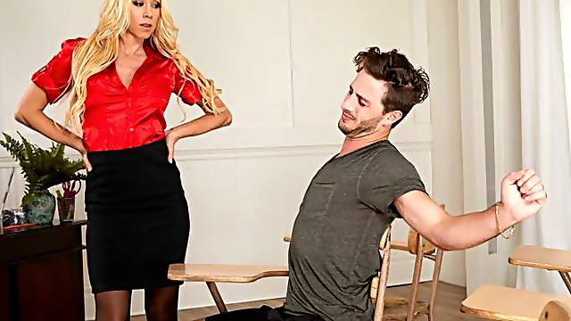 The idiot college kid's alway asleep in Professor Katie Morgan's class, hence his failing grade. But after class she tells him that 1) She's heard of his wild fraternity parties, and 2) There IS a way he can raise his grade again