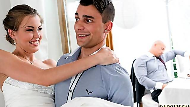 Hot Czech Cindy Shine fucks stepson and gets cum on tits at her wedding