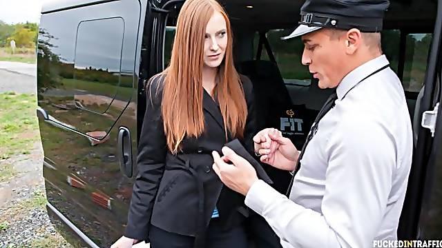 Hardcore car fuck with beautiful Czech redhead teen
