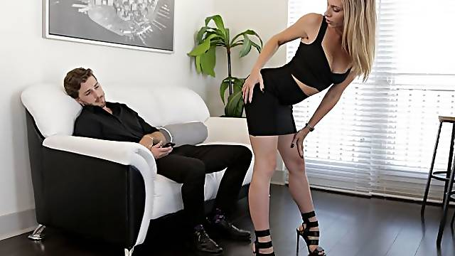 Anya Olsen is dressed to fuck in a formfitting dress and mile-high heels