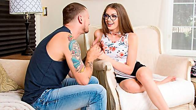 Elena Koshka fucking in the couch with her natural tits
