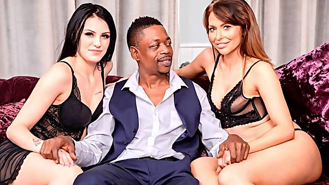 Shay London and Chelsea Ellis Share Lucky Stud in Interracial Threesome