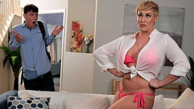 Hot Milf Ryan Keely catches her sons friend peeping on her, so she gives him what he wants!