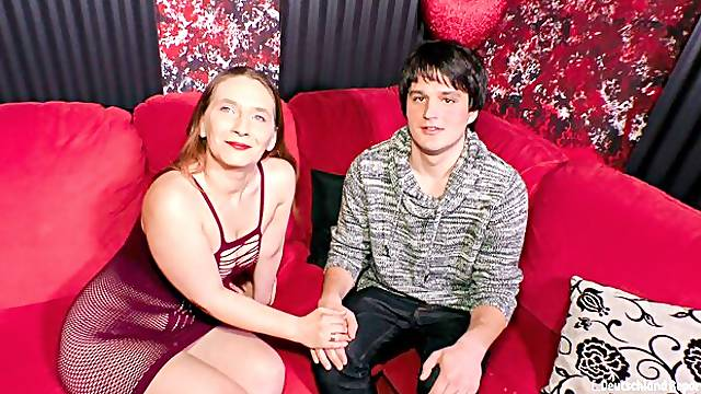 Dirty mature German cougar takes younger guys cock in her twat and mouth