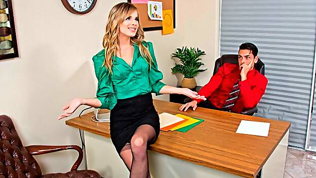 Jillian Janson fucking in the office with her small tits