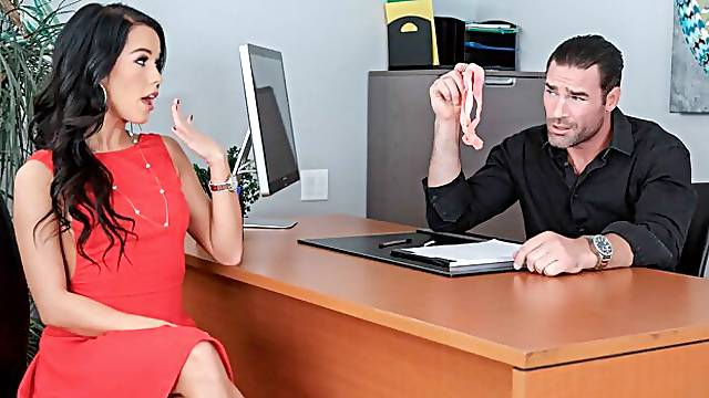 Megan Rain fucking in the office with her black hair