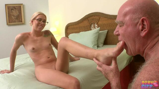 Nerdy Blonde Chanel Grey Creampied by an Old Stud