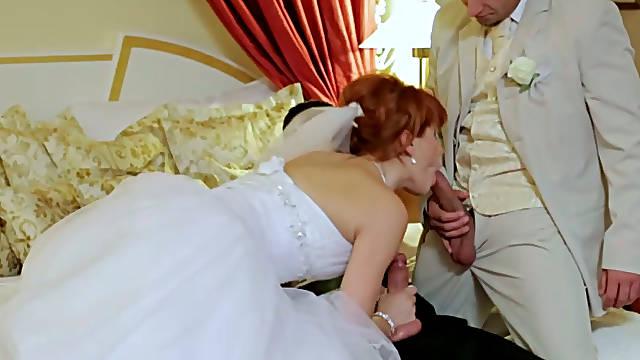 Curvy redhead bride Lucy Belle gets shagged in threesome before wedding