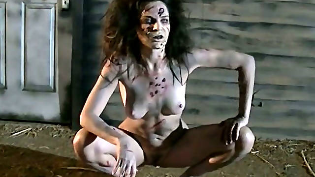 Blood thirsting slut performs nasty and hard solo outdoors