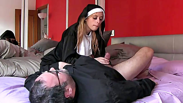 Fat 4 eyed priest fucks his wanton nun in various poses hard