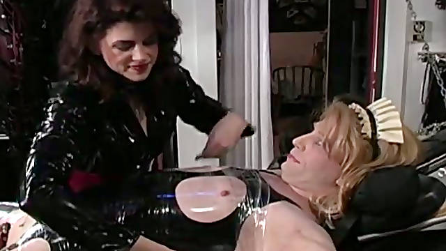 Horny crossdresser gets fixed with belts and cellotape by lewd master