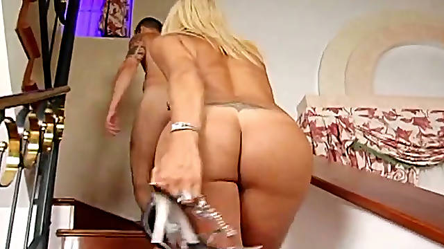 Lusty shemale having sexy tan lines gets her anus slammed in doggy pose