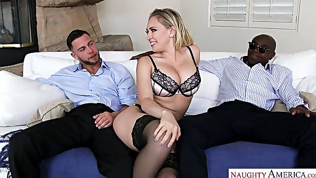 Cuckold husband enjoys watching how whore wife gets double penetrated