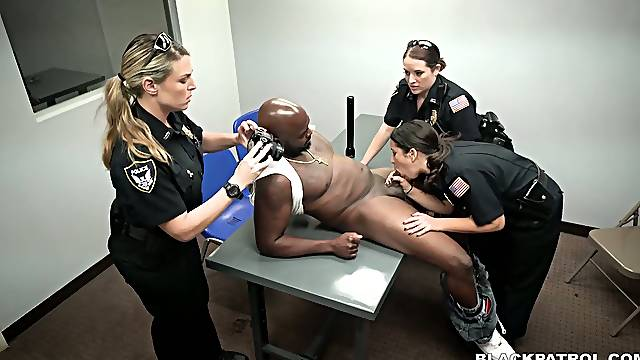 Sex-hungry police women fuck one arrested big black dude