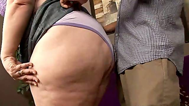 Super fat brunette Matalla is having crazy sex with a skinny bald headed dude