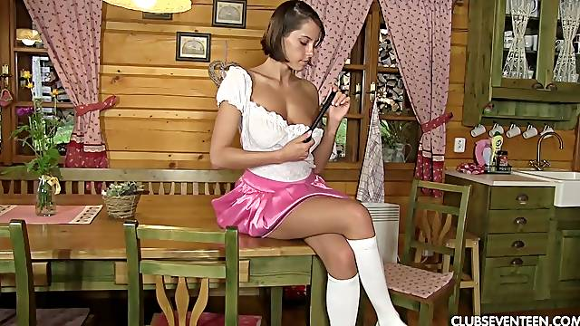 Charming village teen Anabelle is toying her captivating smooth pussy