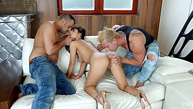 Double penetrated bitch Dominica Fonix is fed with sperm