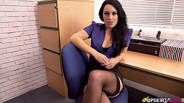 Juicy pussy and sexy panties of naughty secretary Jasmine Lau