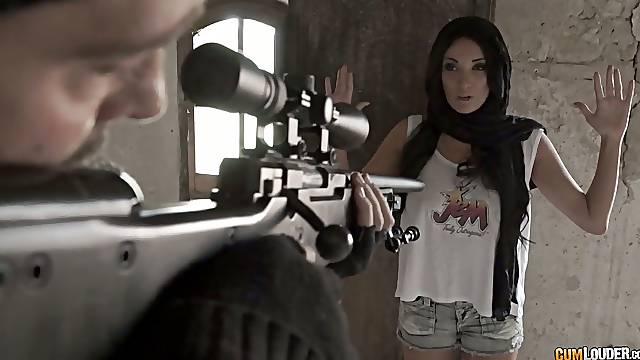 Sniper fucks fucking hot seductress with big boobs Anissa Kate