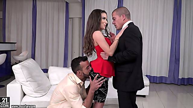 Man eating Hungarian bitch Anita Bellini is fucked by two co-workers