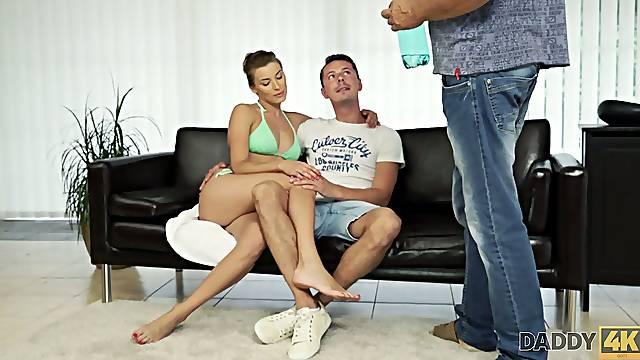 Slutty girlfriend Victoria is cheating on her boyfriend with his step daddy