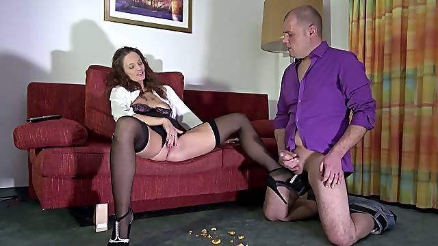 Henpecked husband licks whorish wet pussy of strict German wife Jessy