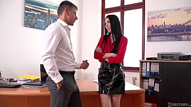 Lustful secretary Veronika masturbates pussy in the bosss office