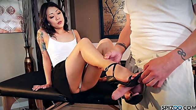 Nude Korean Saya Song gives a footjob and blowjob to clothed married man
