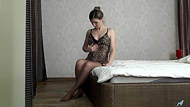 Amateur Russian milf with super hairy pussy is finger fucking herself