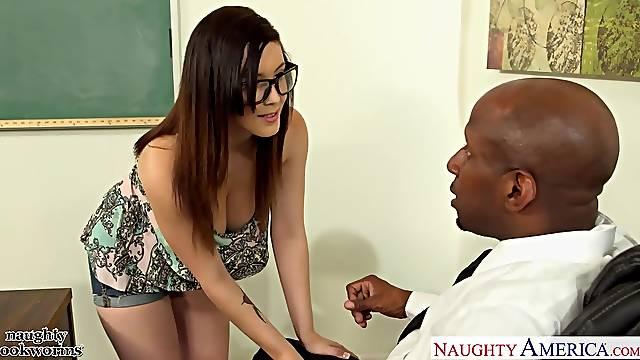 White nerdy student Noelle Easton seduces her strict black teacher