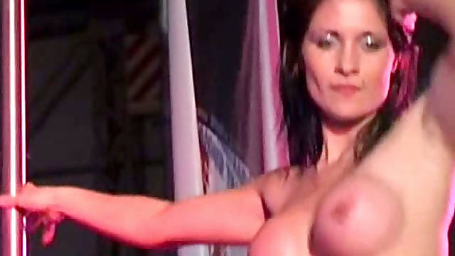 Pole dancing contest is turned into fucking on the stage