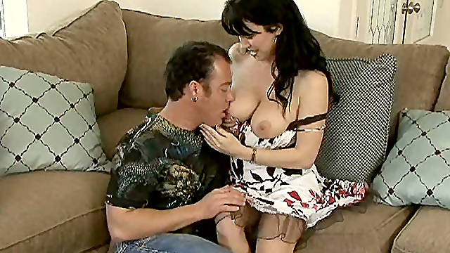 Brunette cow girl lets him to milk her boobs