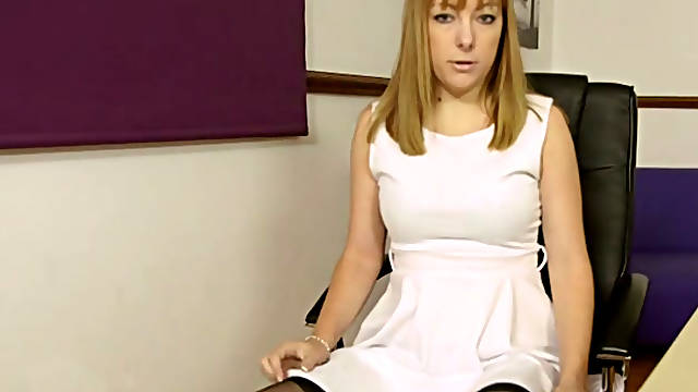 Hot secretary Jay Scott loves show to show off her sexy stockings and garters