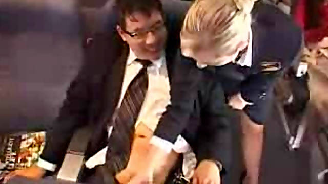 Cute stewardess give a public masturbation