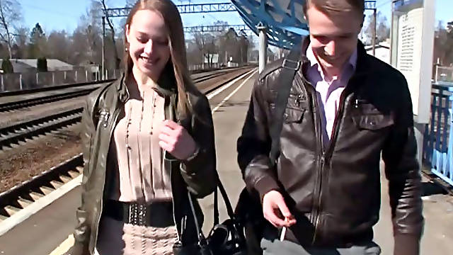 hot pick up girl hanna from the train. Part 2