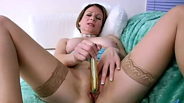 All alone MILF in nylon tights Tiffany fingerfucks her wet pussy