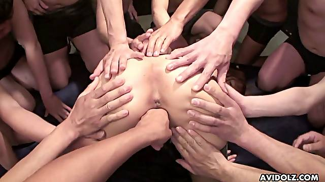 Tight pussy of slender Asian nympho Anri Hoshizaki is drilled by studs