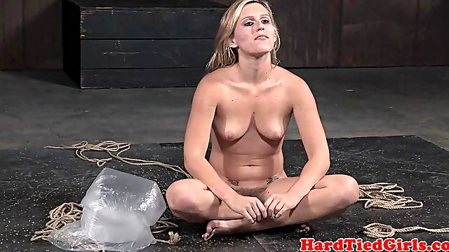Groped and gagged sub getting hogtied