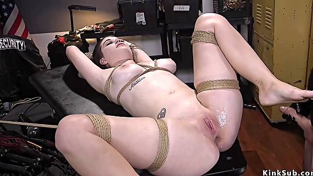 Shoplifter anal fucked in rope bondage