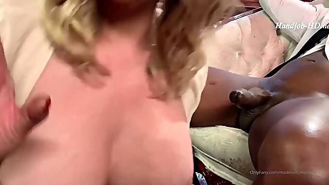 Mistress MM sucks a big black cock in red leather gloves while a dirty tal
