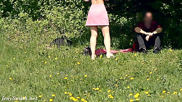 A Not Planned Date. Jeny Smith walking with stranger with mini skirt and no panties