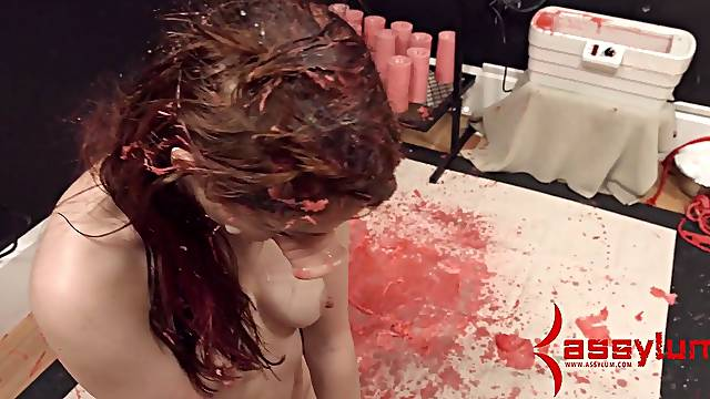 Dominated babe gagging
