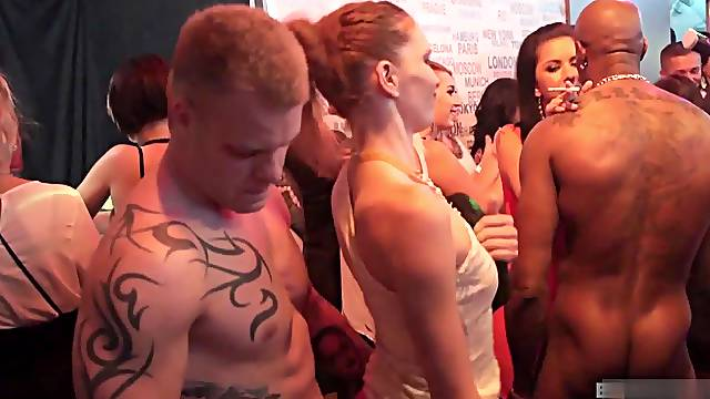 Amazing interracial group couple with beautiful girl with piercing