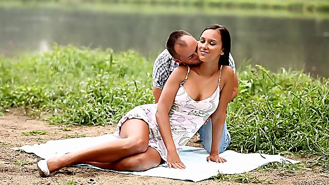 Nude busty brunette fucked by the lake