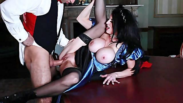 Passionate brunette in royal XXX fetish scenes