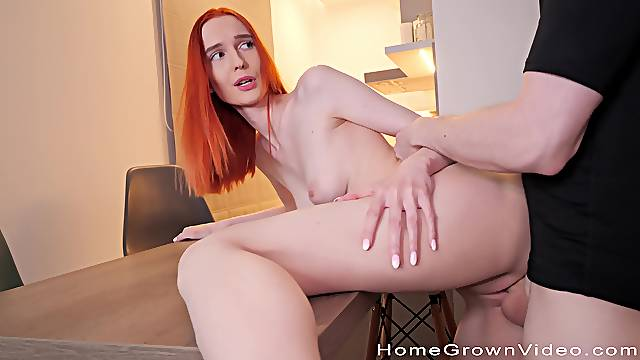 Redhead creamed and fucked in absolute POV