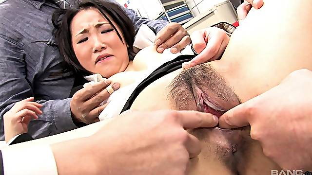 Japanese office lady gets dicks in the throat like a whore
