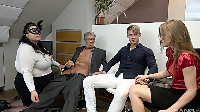 Fat mature and young whore, insane foursome